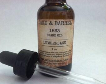 1863 Lumberjack Beard Oil. Beard Conditioner. Glass 1oz Bottle with Dropper.