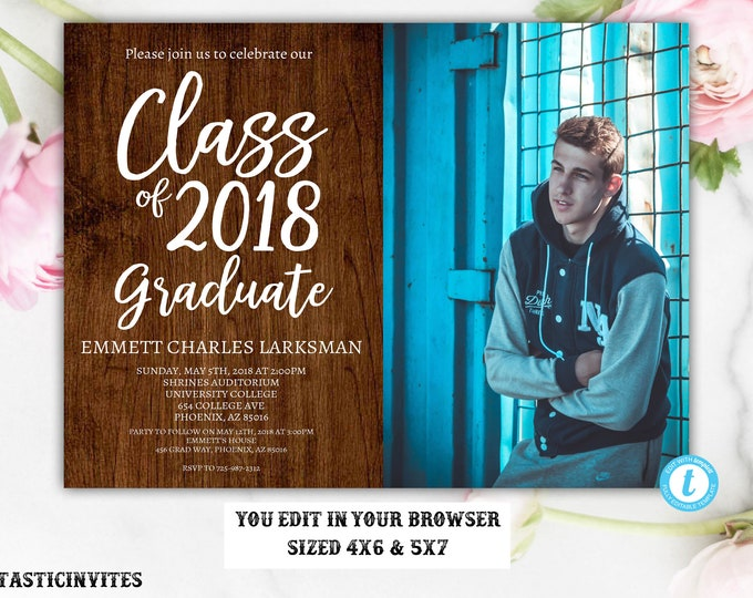 Rustic Graduation Invitation Template, Instant Download, Rustic, DIY Edit, Editable, Class of 2018, Graduation, Senior, High school, College
