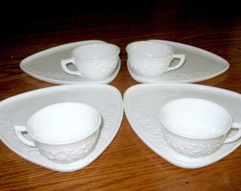 1950s Indiana Glass Co. Milk Glass Cups and Luncheon Plates Set