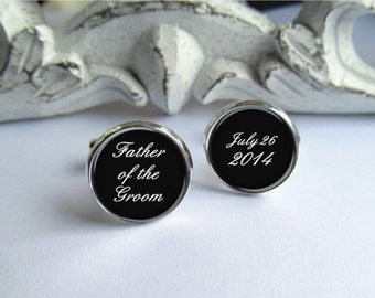 Father Of The Groom Cufflinks, Wedding Cufflinks, Personalized Cufflinks