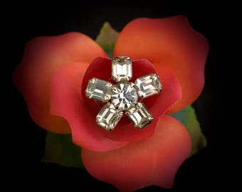 Vintage crystal rhinestone starburst  brooch pin 1940's fashion accessory