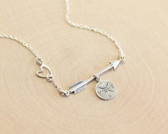 Sterling Silver Arrow Compass and Heart Necklace