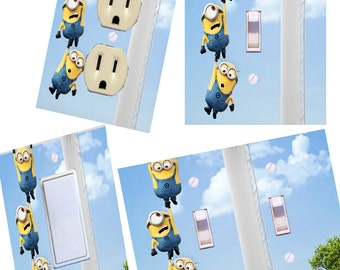Minions Light switch cover wall plates Kids room decor hanging on
