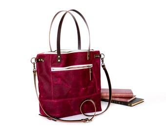 No. 132 Waxed Canvas Shoulder Bag, Waxed Canvas Bag, Large Crossbody Bag, Tablet Bag, Book Bag, Horween Leather, Cross Body Bag, Purse