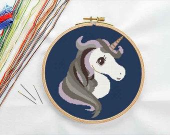 PATTERN: Monochrome unicorn cross stitch pattern, Modern Cross Stitch Pattern, Cute Cross Stitch Pattern, Instant Download PDF