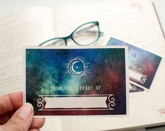 galaxy bookplate stickers - custom book plates - Milky Way book labels - starry night bookplates - Ex Libris - astronomy gift - personalized