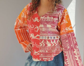 Tunic amazing woman top shirt gypsyred  festival circus boho one of a kind