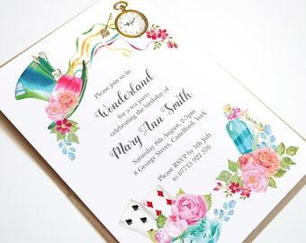 Alice in Wonderland Invitation, Alice In Wonderland Tea Party, Mad Hatter Tea Party, Afternoon Tea Party, Girls Birthday