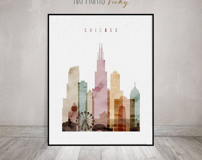 Featured listing image: Chicago Print Watercolor Skyline Poster | ArtPrintsVicky.com