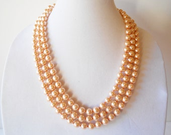 Pearl Necklace, Vintage Necklace, Rope Length Pearls, 10mm Faux Pearls, Glamorous Necklace, Pearl Beads, Costume Jewelry