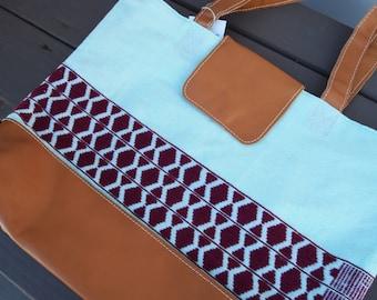 Aqua & Maroon Print Day Bag
