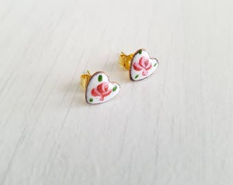 Vintage guilloche rose,  heart shaped, gold plated post earrings.