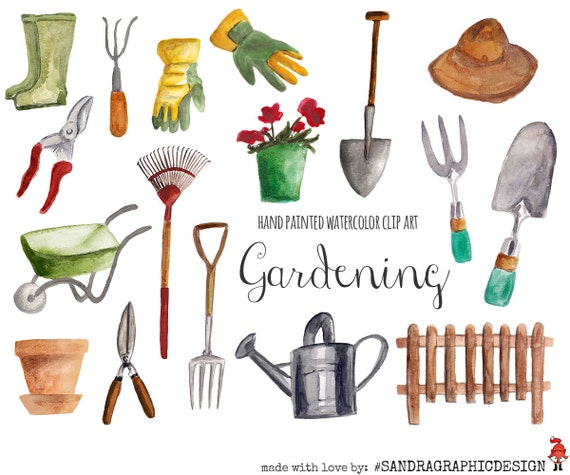 Gardening Clip Art Hand Painted Watercolor Floral Clipart