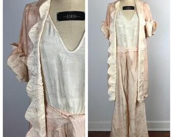 Vintage 1930s Beach Pajamas / 30s Peach and Cream Damask Jumpsuit and Jacket  / Medium to Large