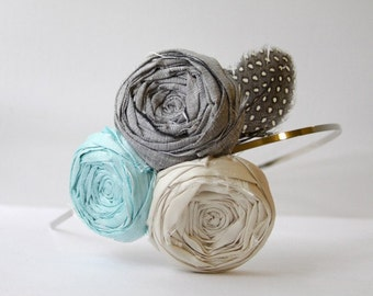 Something Chic Silk Rosette Headband and Natural Exotic Feather