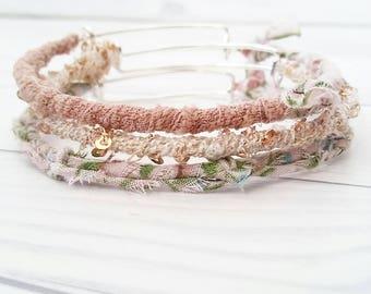 Boho Bracelet Set, Bohemian Bracelets, Boho Bracelet, Boho Jewelry, Thin Bangles, Expandable Bangles, Gypsy Jewelry, Pink Bangles