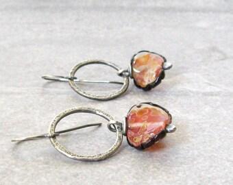 orange dangle earrings, rustic lampwork and silver earrings, metalwork jewelry, oxidized silver earrings