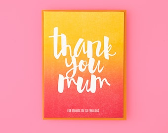 Thank You Mum Letterpress Greeting Card