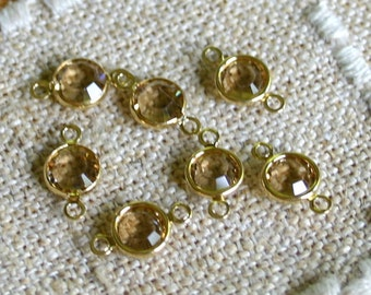 12pcs Swarovski Components Crystal Link Gold Plated 6.14-6.32mm Faceted Round Austrian light Colorado topaz Model SS29