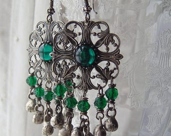 Repurposed Silver Filigree Victorian Finding Earrings Assemblage Belt Links Emerald Green Glass Cabochons Kuchi Charms Bohemian Style