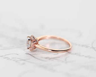 Rosette Ring in Rose Gold, Sterling Silver, Simulated Diamonds, Statement, Promise Ring, Stacking, Minimal, Flower Ring 925, Delicate dainty