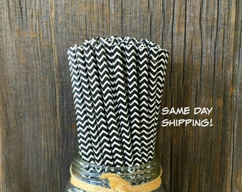 100  Black Chevron Straws, Party Supply, Over the Hill Party, Free Shipping!