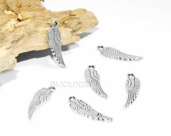 50 17x5mm antique silver Lot M01850 Angel Wings charms