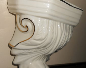 Vintage, White, Gold, Wall Pocket, Wall Vase, Ceamic