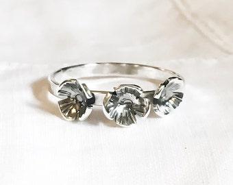 Triple Poppy Ring // Wildflower Ring // Sterling Silver