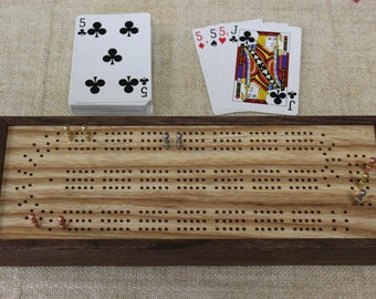 Cribbage Board with Card and Peg Storage, American Walnut and Ash, Continuous, Three Track