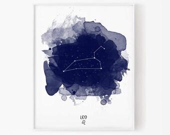 Leo Constellation, Leo zodiac, Zodiac Constellation, Stars constellation, Astronomy Watercolor, Printable poster, Digital print
