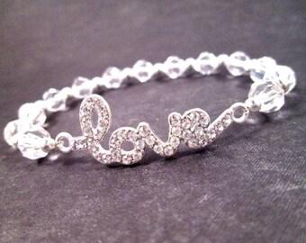 LOVE Bracelet, White Glass Rhinestone and Silver Beaded Bracelet, Romantic Stretch Bracelet, FREE Shipping U.S.