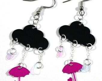 Black Cloud Earrings Rainy Day Pink Umbrella Dangles Raining Storm Clouds Plastic Sequins