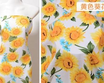 Yellow Sunflower Cotton Fabric 68
