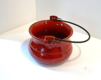 Red Glazed Pottery Leprechaun Pot