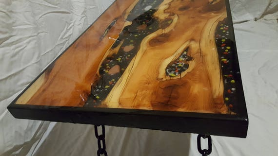 Stunning Epoxy Resin Coffee Table River Yew Wood Bespoke One