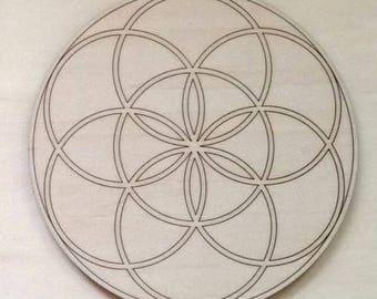 """Wood Crystal Grid - Seed of life 8"""" diameter engraved"""