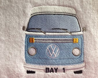 VW Bay Campervan Personalised Embroidered Towels Free Name