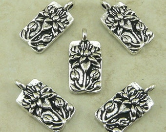 5 TierraCast Floating Lotus Charms > Zen Yoga Buddhism Bridal Jewelry - Silver Plated Lead Free pewter - I ship Internationally 2183