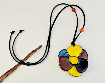 Tagua nut necklace, big flower necklace, multicolor jewelry, long collar, large pendant necklace, boho jewelry, black cord adjustable choker