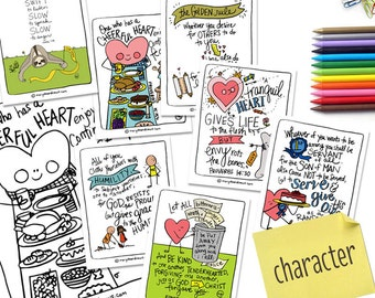 Printable Hand-drawn CHARACTER Scripture Memory Bible Verse Cards with Coloring Pages // DIGITAL DOWNLOAD