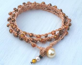 Crocheted Jewelry,Crocheted Bracelet,Tortoise Fire Polished Crocheted Wrap,Greatest Joy Gifts, Gifts for her,Swarovski Pearl,Boho,Seed Beads