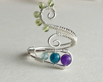 Peacock Gemstone Ring, Apatite Wire Wrapped Ring, Adjustable Peridot Ring, Wire Spiral Ring