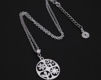 Four Seasons Wheel of Year Silver Necklace Pendant Pagan Wicca