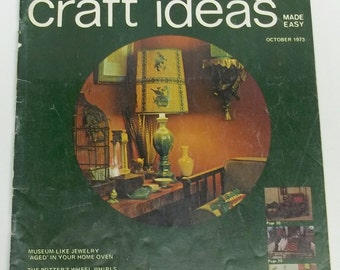 Vintage crafting magazine,Decorating Craft Ideas Made Easy,October 1973,decorating magazine,1973 crafting magazine,october 1973
