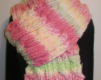 Extra long chunky oversized cable multicolor knitted neck warmer/scarf/muffler/wrap