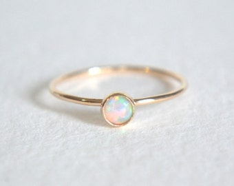Gold Opal Ring, Gold Filled Opal Ring, White Opal Ring Gold, Stacking Ring, Opal Gold Filled Ring, Dainty Opal Ring, Opal Stackable Ring