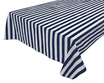Cotton Table Cloth Stripes / Lines 1 Inch Stripes Navy U0026 White