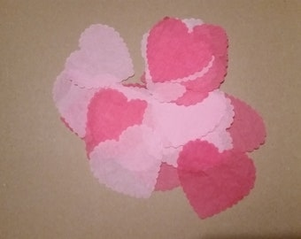 Pink and Red Tissue Paper Hearts