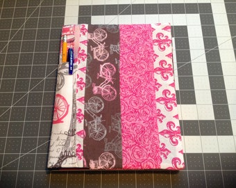 Patchwork Composition Notebook cover w/binder pen pocket
